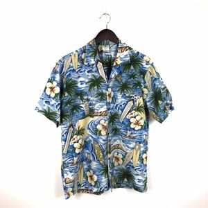 Royal Creations Blue Hawaiian Shirt Size Medium